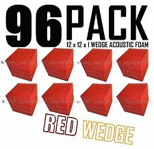 96 Pc RED Acoustic Wedge Studio Soundproofing Foam Wall Tiles 12x12x1 inch