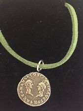 "Denarius Vespa Roman Coin WC27  Made From Fine Pewter On 18"" Green Cord Necklace"