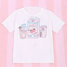 Girls Japanese Kawaii Shirt Cartoon Print Lolita Short Sleeve White Blouse Top