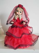 Vintage 60's Japanese BIG EYE Bradley DOLL Spanish Red w/ Black Lace Dress Veil