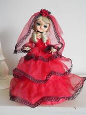 Vintage 60's Japanese BIG EYE Bradley DOLL Spanish Red w/ Black Lace Dress Veil