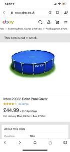 Intex Solar Pool Cover 2.44m - Blue (29020)