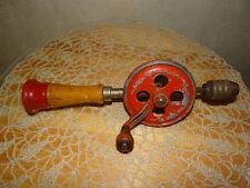 """Vintage Egg Beater Hand Drill 11"""" long with wooden handle and screw top Super"""