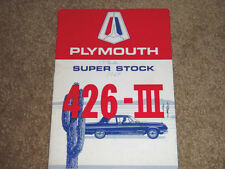 1964 Plymouth Super Stock 426-Iii Factory Original Owners Manual Printed 8-63