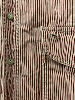 Levi's Strauss Vtg Red / White Long Sleeve Shirt Size L Large (Upside Down Tab)