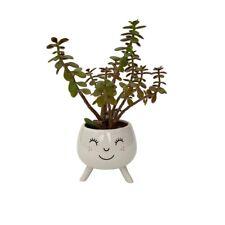 White Ceramic Smile Face Flower Plant Bud Vase Vintage Boho Wedding Table Decor