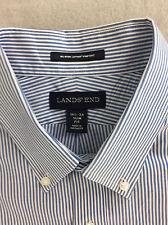 Lands End Dress Shirt Slim Fit Supima Cotton Blue White Stripe L/S 16 1/2-34