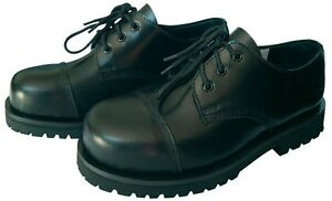 KB Gothic Boots Schuhe Gothicschuhe Stahlkappen Halbschuhe 3-Loch Schwarz 37-47