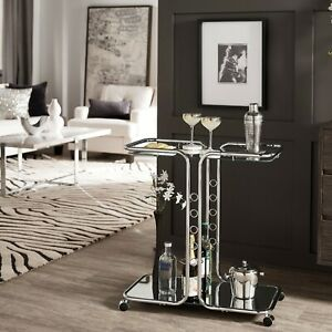 Rolling Mini Bar Chrome Glass Mirrored Top Shelf Liqueur Serving Cart Retro Slim