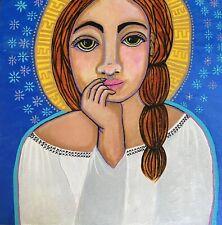 Acrylic fine Art, painting, portrait of woman 12x12  original angel on wood