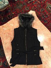 Girl's CLIQUE HOODED FAUX fur trim ZIP UP heavy vest With Belt SIZE L