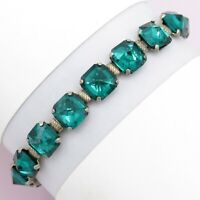 Vtg Art Deco Sterling Silver Emerald Glass Foiled Paste Line Signed Bracelet