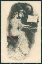 Clarence Underwood Lady and Piano MM Vienne 303 postcard cartolina QT7062