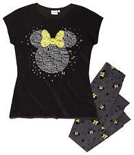 Minnie Mouse Schlafanzug T-Shirt Leggings schwarz Gr. M 38 40 Kinder 170
