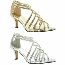 Mujer Damas Tacón Bajo Diamante Nupcial Boda Sandalias con Tiras Fiesta Zapato 300-11