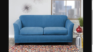 NEW Sure Fit Stretch Modern Block 3 piece loveseat Piece Slipcover Ocean blue