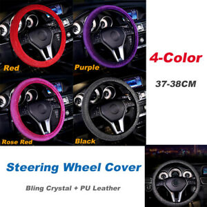 38CM Car Steering Wheel Cover Anti-Slip Crystle Bling Black/Red/Purple/Rose Red