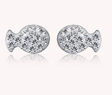 Sterling Silver Swarovski Elements Crystal Shambhala Fish stud Earrings BOX k21