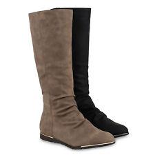 Warm Gefütterte Damen Stiefel Flache Winterstiefel Boots 813303