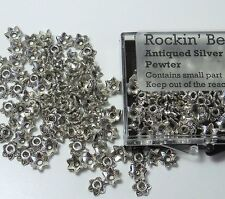 100 Bead Caps 7x2mm Flower for 6mm to 12mm Beads Antiqued Silver Cast Pewter