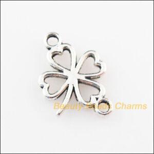30Pcs Tibetan Silver Tone Clover Flowers Charms Connectors 11x16.5mm