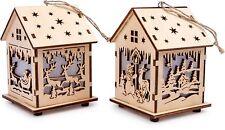 Deko Lichthaus Laterne 2-er Set Holz ca. 7 x 7 x 10 cm Weihnachten  Advent