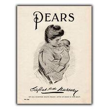 PEARS SOAP METAL SIGN WALL PLAQUE Vintage Bathroom Nursery Decor Advert print
