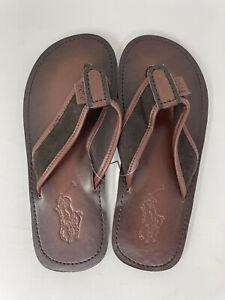 NEW Polo Ralph Lauren Mens Sullivan Flip-Flop Flaps Leather Sandals Brown  US 11