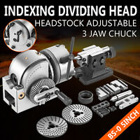 """BS-0 Semi 5"""" Indexing Dividing Spiral Head Chuck Tailstock CNC Milling Precision"""