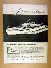 1946 Wheeler double cabin fly bridge cruiser 46 ft Yacht art vintage print Ad