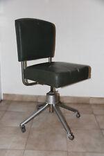 Design: ancienne chaise de bureau à roulettes vintage industriel, vers 1950