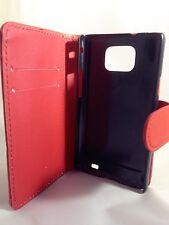 Rot Wallet Leder Case Handy Cover Samsung Galaxy S2 II GT-I9100 Uni