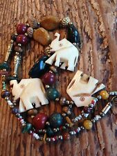 Vintage Carved  Elephant Necklace Colorful Polished Stone Lucky Republican India