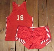 Vintage 1940s Post Red Satin Gab Basketball Uniform #16 Tanktop Shirt w/ Shorts