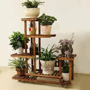 5 Tier Wooden Plant Flower Pot Display Stand Shelf Storage Rack Outdoor Indoor