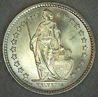 1962 B Switzerland BU Silver 1/2 Franc Coin Uncirculated Coin