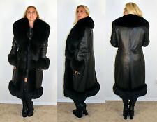 Prada Black Lambskin Leather Coat Black Fox Fur Collar Cuffs Size Medium 6 8 M