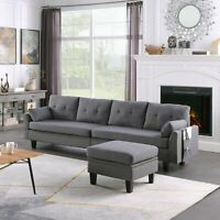Modern 4-Seaters Upholstered Sectional Sofa/Couch with Storage Ottoman USA STOCK