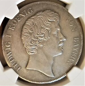 "1837 German States-Bavaria ""Crown in Wreath"" Thaler - Ludwig I - NGC AU Details"