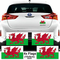 4x Wales Welsh Flag Car Van Stickers Decal Support Football Graphics Euro 2016