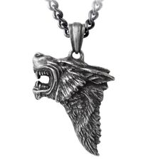 Fierce Snarling Dark Wolf Pendant Antiqued Pewter Necklace Alchemy Gothic P833