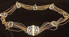 Vintage Unique Enamel Gold Tone Chain Belt