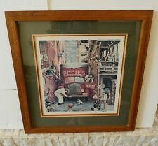Rare Norman Rockwell SIGNED Roadblock Lithograph Print Pepies Dog Road Block