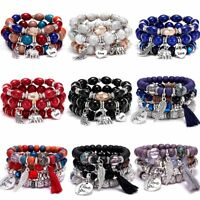 Boho Multilayer Natural Stone Crystal Charms Beaded Bracelet Bangle Women Gift