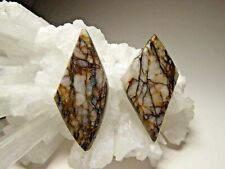 Two Quartz With Dioptase Copper Veins Earring Pair or Single Pendant Beads