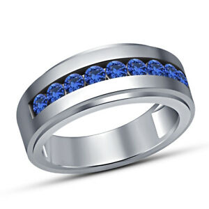Mens Round Cut Engagement Pink Ring Blue Sapphire Wedding Band 14k White Gold Fn