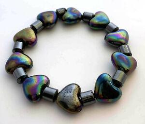 1pc Charm Black Love Heart and Metallic Tube Plastic Elastic Bracelet valentine
