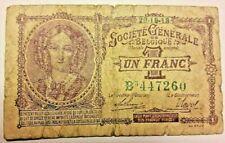 1 Franc, 1918 Belgique KM:86b Billet, 1 Frank 1918 Belgïe Banknote