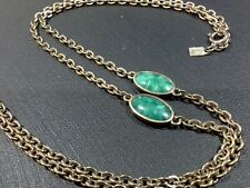 VINTAGE EMMONS LONG GOLD TONE & EMERALD GREEN MARBLED BEAD CHAIN NECKLACE J088
