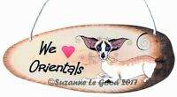 Oriental cat sign laminated from original tree slice painting by Suzanne Le Good